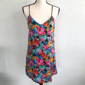 Robert Stock Silk Floral Silk Slip Chemise Dress